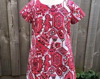 Girls a-line dress. Vintage printed cotton. Sizes 2,3 & 5