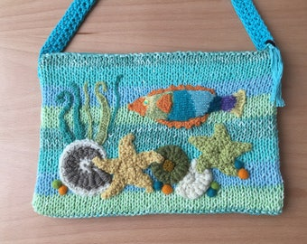 Hand Knit Purse with Seaside Design