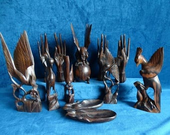 Wood carvings of birds, hands and feet-Bali-Indonesia