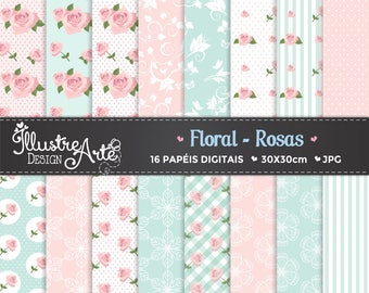 Floral Roses Digital Paper / Shabby Chic