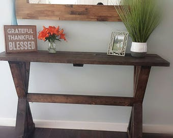 Rustic dinning room buffet table