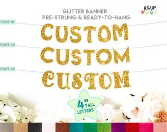 Custom Glitter Banner, Custom Party Decorations, Custom Birthday Banner, Bridal Shower Banner, Engagement Party Banner, Custom Event Banner