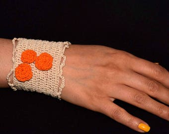 Crochet Cuff Bracelet/ Orange Flowers