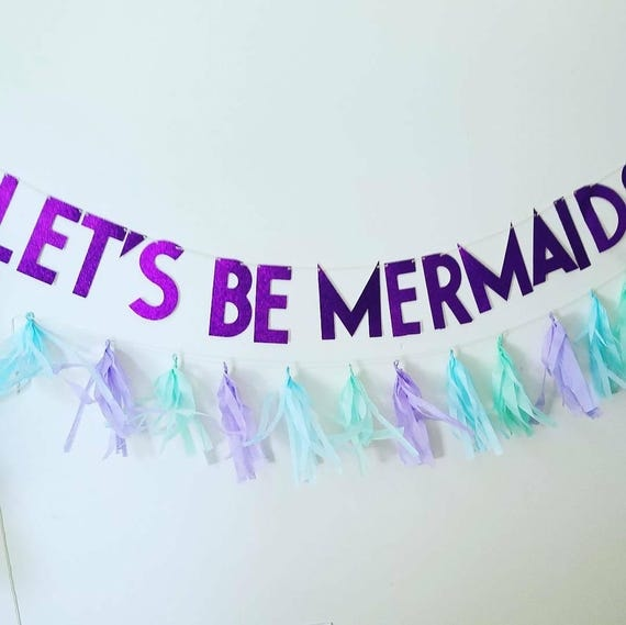 Let's Be Mermaids Purple Glitter Banner Mermaid Birthday
