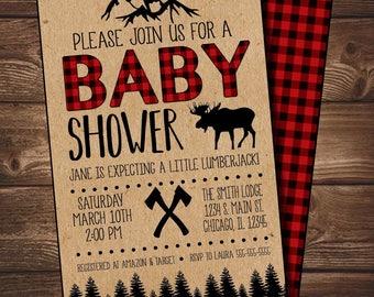 Lumberjack Flannel Themed Baby Shower Invite