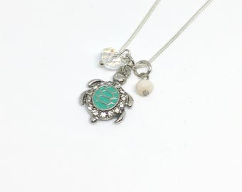 Sea Turtle/Sterling Silver/Dainty/Delicate Necklace/Charms/Beachy