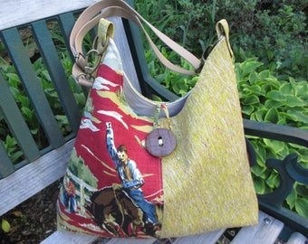 Cork Handbag, Horse Tote, Handmade CorkTote Bag, WesternTheme Hobo Bag, Cowboy Handbag by DarkHorsesDesigns