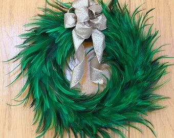 """Green Hackle Feather Wreath 18"""" 