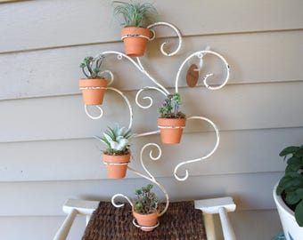 Hanging Wall Planter - Repurposed Candle Decoration - Potted Faux Succulents Included