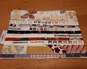 Handmade 'Salvage' edge cosmetic purse, pencil case, zip purse, brush holder