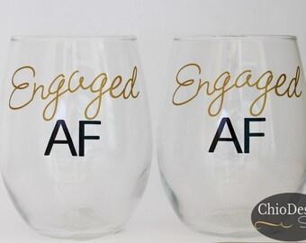 engaged af wine glass, stemmed or stemless, engagement gift, just engaged newly engaged gift, af, wine glass, weddng shower gift