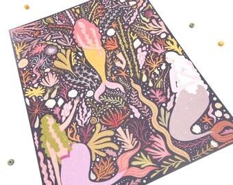 "Mermaid Garden Print -8""x10""-"