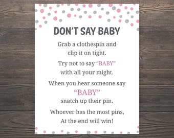 Pink Silver Baby Shower Games, Dont say Baby, Girl Baby Shower, Pink Baby Shower, Silver Baby Shower, Clothespin Game, Printable Games, S011