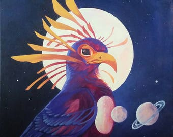 Art Nouveau inspired Cosmic Bird Painting