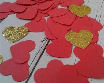 Red heart confetti, wedding confetti, wedding toss, paper confetti, gold glitter heart confetti, bridal shower confetti, valentines day.