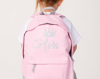 Personalised Backpack Kids Baby Pink Glitter