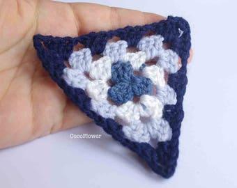 DIY Bunting Banner - 6 Blue crochet granny triangle 10cm - Large flag