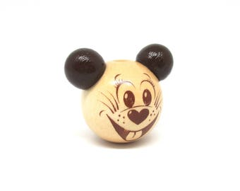 3D mouse head natural wooden bead