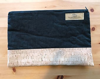Small clutch - evening bag made of Black canvas and Cork