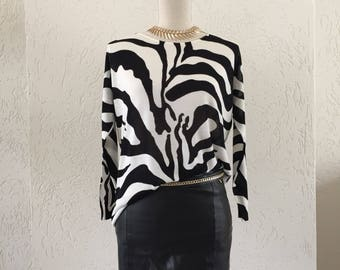 Women's Jumper/Sweater zebra print. Vintage women's jumper/Sweater with zebra print. vintage tops