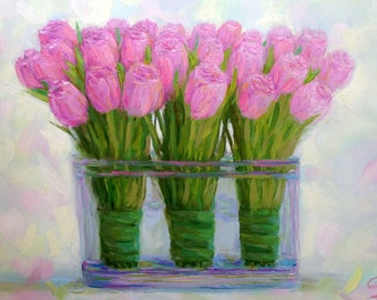 ORIGINAL Oil on Canvas painting hand painted pink tulips 13x20 flower still life fine art wall home interior decor impressionism artwork