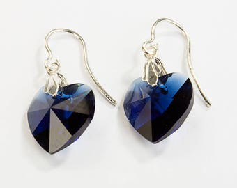 Sterling Silver earrings 925 and Crystal swarovski elements Blue Mountain heart.
