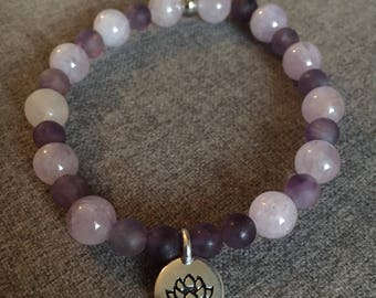 Purple Amethyst Beaded Bracelet with Hope and Swarovski Crystal Heart Charm