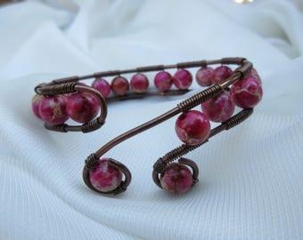 Copper Bracelet with Pink Jasper Beads