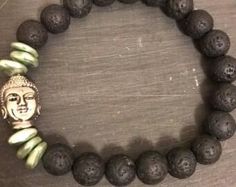 Lava Rock, Blue Shells and Buddha Stretch Bracelet