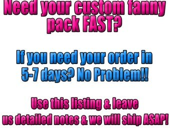 RUSH ORDERS ONLY*** Custom Fanny Waist Packs - Bridesmaid, Bachelorette, Neon, 90s