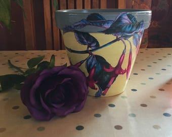 Bright yellow Fuschia pot