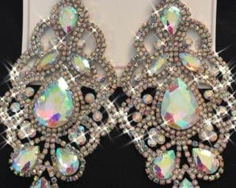 Auroura Borealis Ladge Chandelier Earrings  Pageantry