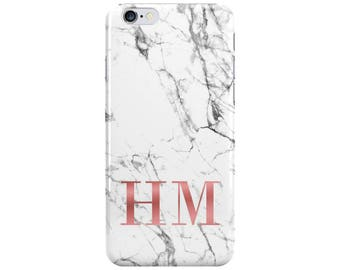 Personalised Name White Rose Gold Marble Phone Case Cover for Apple iPhone 5 6 6s 7 8 Plus & Samsung Galaxy Customized Monogram