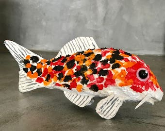 Japanese carp - paper mache and acrylic.