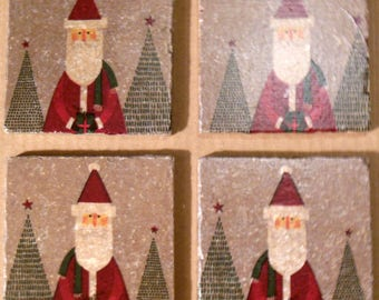 Coasters Christmas Santa Claus Christmas Trees Stone Cup Holders Bar Drinks Winter Christmas Gifts Gray Red Green Furniture Protect