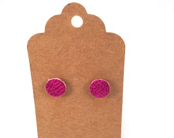 Hot Pink Leather Stud Earrings, Leather Earrings, Stud Earrings, Hot Pink Earrings, Fuchsia Earrings, Minimalist Earrings, Post Earrings