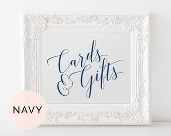 Navy Cards and Gifts Sign, Printable Wedding Sign, Cards and Gifts Wedding Sign, Gifts and Cards Sign, Gifts and Cards Wedding Sign