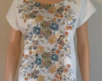 Blouse spandex 36/38/40/42 wrinkle cotton floral print