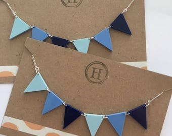 Blue Bunting Necklace