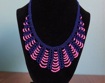 Pink/Blue handmade beaded necklace