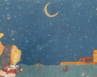 To watch the moon print on paper