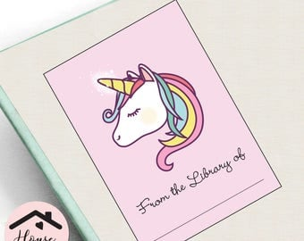 Pink Unicorn Bookplates, Printable Book Plates, Girl's Bookplates, Birthday Bookplates, Unicorn Book Plate, INSTANT DOWNLOAD 0232