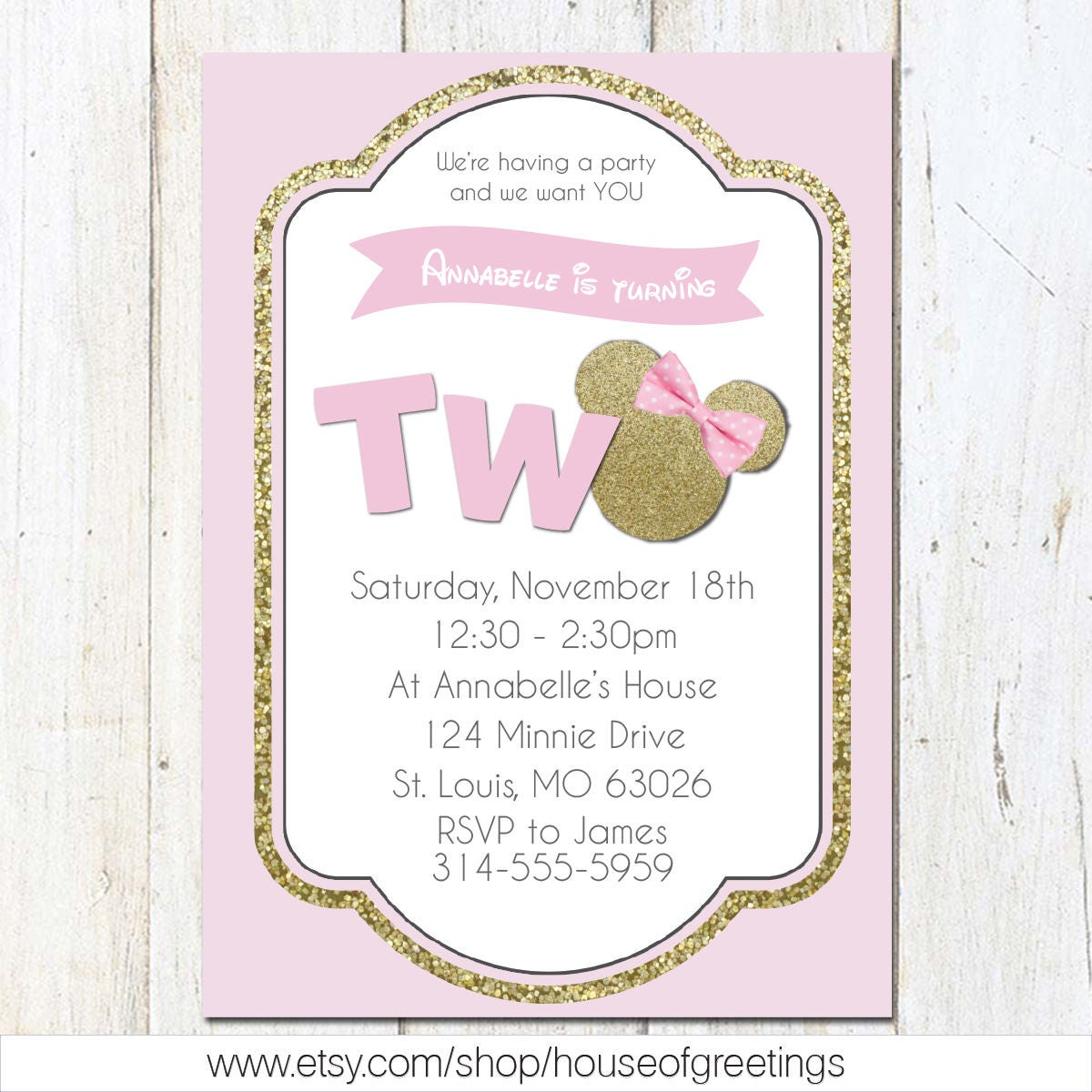 Pink and Gold Minnie Mouse Second Birthday Party Invitation, 2nd ...