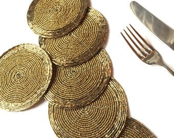Dull Gold Beaded Coasters, Pack of 6