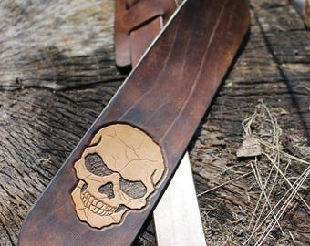 Engraved genuine leather guitar strap