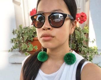 Handmade PomPom earrings, green with jewel drop chain
