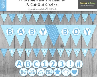 Blue Baby Shower Printable Pennant Banner - Baby Boy Party Banner and Cut Out Circles - bunting banner - photography backdrop
