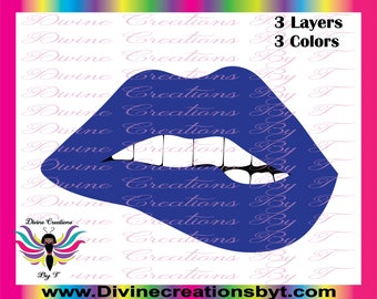 Lips 2  (SVG, EPS, DXF )- Biting lips- made by me