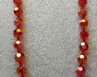 Vintage C.T.B. Signed Red Crystal Necklace