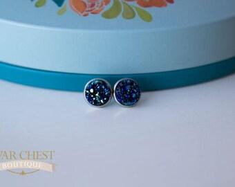 Twilight Druzy Post Earrings, Blue Crystal Earrings, Stud Earrings, Statement Earrings